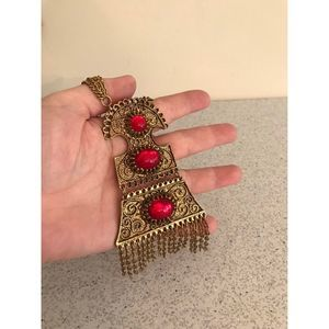 Gold Tone Boho Pendant Necklace w/ Red Cabochons